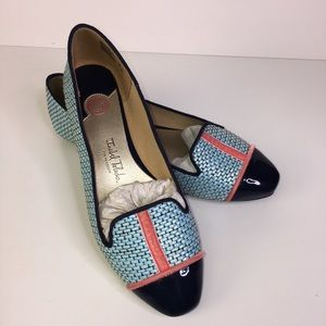 Isabell Toledo Flats Blue Weave Patent Leather 7